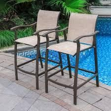 Outdoor Counter Height Bar Stools Classic Patio Bar Chairs  Set of 2    21 85 W x 25 D x 39 76 H  Retail 171 99 beige