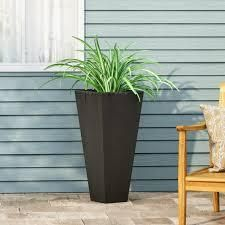 Ella Outdoor Modern Cast Stone Planter by Christopher Knight Home  Retail 91 99 matte black