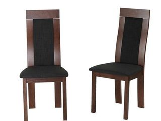 Cortesi Home Tia Dining Chair in Charcoal Fabric  Walnut Finish  Set of 2  Retail 147 99