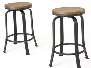 Skyla 24 inch Natural Wood Roating Counter Stool  Set of 2  by Christopher Knight Home  Retail 158 49