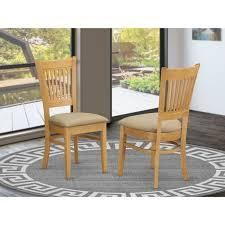 Copper Grove Quince Dining Chairs  Set of 2    Retail 131 00 oak finish with fabric upholstered seat cream