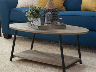 Household Essentials Oval 2 Tier Coffee Table  Ashwood