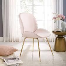 Art leon Beetle Design Velvet Dining Chair with Plated Golden legs  Retail 118 99 Sakura pink