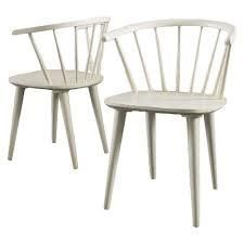 countryside rounded back spindle wood dining chairs cream set of 2