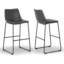 Carbon loft Richard Faux leather and Iron Counter Stool  Set of 2    Retail 136 99 grey