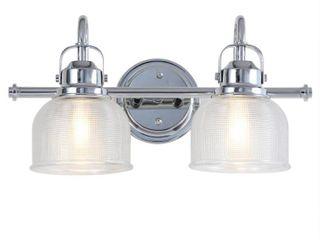 Virginia 17 25  2 light Metal Glass lED Vanity light  Chrome