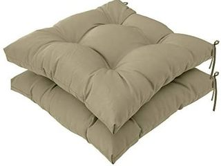 QIllOWAY Indoor Outdoor All Weather Square Seat Patio Cushion  Pack of 2 19 Inches  Beige