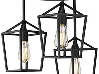 Emliviar 3 light Ceiling light  Semi Flush Mount light Fixture with Metal Cage in Black Finish  20065D2 3 BK