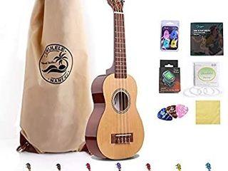 Soprano Ukulele 21 inch Mahogany Electric Rainbow Uke Mini Kids Guitar Hawaiian ukelele Instrument Kit ukalalee for Beginner Adults Kids Starter Natural