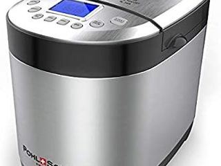 Pohl Schmitt Stainless Steel Bread Machine Bread Maker  2lB 17 in 1  14 Settings Incl Gluten Free   Fruit  Nut Dispenser  Nonstick Pan  3 loaf Sizes 3 Crust Colors  Keep Warm  and Recipes