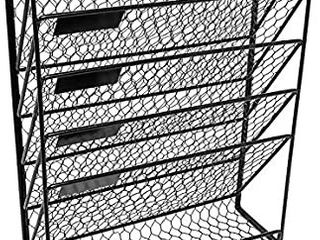5 Tier Wall File Holder Hanging Mail Organizer Metal Chicken Wire Wall Mount Magazine Rack for Home and Office white