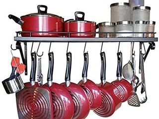 Premium Presents Wall Mounted Pots and Pans Rack  Pot Holders Wall Shelves With 10 Hooks