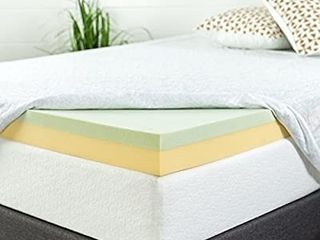 Zinus 4 Inch Green Tea Memory Foam Mattress Topper   Green Tea   Charcoal Infused for Freshness Twin