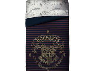 Harry Potter Spellbound Hogwarts Emblem Reversible Twin Full Comforter with Gold Foil Design