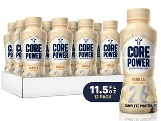 Core Power Natural High Protein Milk Shake  Vanilla  11 5 Ounce Bottles  Pack of 12