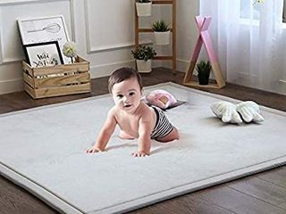 Baby Play Mat  Soft Play Rugs for Boys Girls Infant Baby Toddler Nursery  Thick Grey Rug for living Room  Playroom  Classroom  Nursery and Dormitor Foam Mat Tatami Mat Exercise Mat 79 by 98 Inch