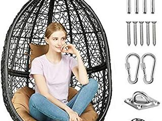 Greenstell Egg Hammock Chair with Hanging Kits Got EN 581 Quality Inspection Report Issued by SGS  Rattan Wicker Swing Hanging Chair with Cushion Pillow for Indoor Outdoor  Patio  Garden  Yard  Black