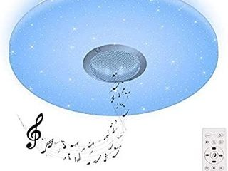 24W lED Music Ceiling light 2800 6000K with Bluetooth Speaker for Kids Room Bedroom  Color Changing light 2120 lM with Remote Control Ceiling lamp for Children s Room square 15 x15