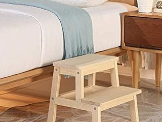 HOUCHICS Multi Purpose Kids 2 Step Wood Step Stool with 260lb load Capacity Wooden Bedside Step Stool Adults for Kitchen Bathroom Bedroom Natural