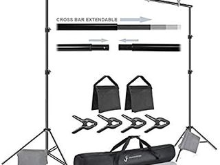 Backdrop Stand 7 5 x10  Background Support System Kit with Spring Clamp  Sand Bag  Carry Bag  Photography Studio