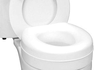 HealthSmart Raised Toilet Seat Riser for Elderly  Portable Elevated Handicap Toilet Seat Cushion for Seniors  5 Inch Height  White