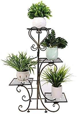 4 Tier Wrought Iron Plants Stand Outdoor Metal Flower Pot Planters Rack Indoor European Style Plant Shelf Garden Decor