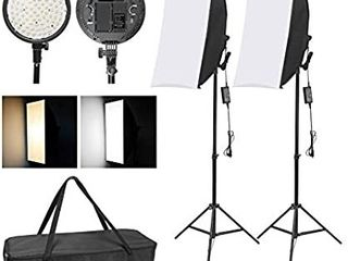 WISAMIC Photography lED Softbox lighting Kit  48W Bi Color Dimmable lED light Head with Battery Compartment and light Stand 20x28