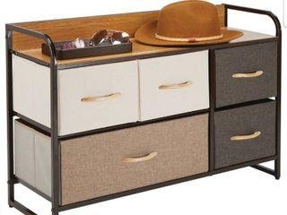 5 Drawer Wide Storage Dresser Organizer with Wood Shelf
