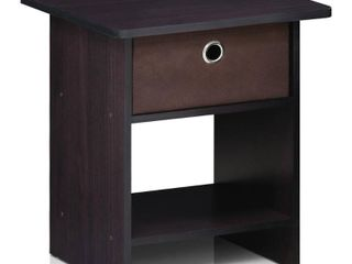 Furinno 10004 End Table  Night Stand Storage Shelf with Bin Drawer