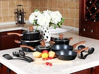 Kitchen Academy 12 Piece Nonstick Granite coated Cookware Set With Wood Effect