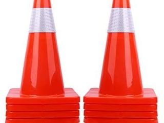 18  Traffic Cones PVC Safety Road Parking Cones Weighted Hazard Cones Construction Cones for Traffic Fluorescent Orange w 4  Reflective Strips Collar