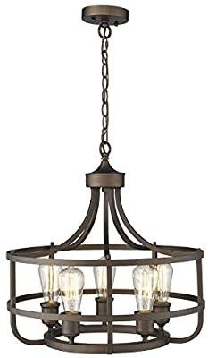 Zeyu 5 light Industrial Round Chandelier  20 Inch Farmhouse Kitchen Pendant light for Dining Room  Oil Rubbed Bronze Finish  9808 5P R ORB