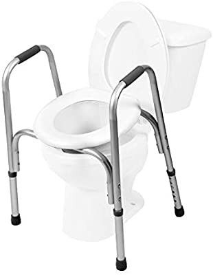 PCP Raised Toilet Seat and Safety Frame  Two in One  Adjustable Rise Height  Secure Elevated lift Over Bowl  Made in USA