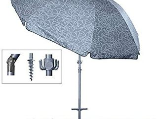 Titan 8 Foot Beach Umbrella with Sand Anchor  Fully Telescoping  UPF 50 Plus Rating  Tilting 2 Piece Design  Includes 4 Prong Hanging Hook  Corkscrew Anchor  and Carrying Bag