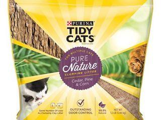 Purina Tidy Cats Pure Nature Cedar  Pine   Corn Clumping Cat litter For Multiple Cats 12 lb