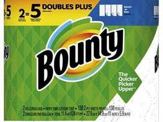 Bounty 76213 Paper Towels  Select a Size  138 2 Ply Sheets  2 Pk
