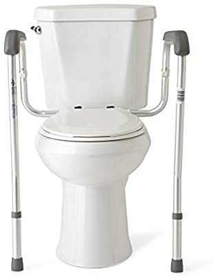 Medline Toilet Safety Rails  Safety Frame for Toilet with Easy Installation  Height Adjustable legs  Bathroom Safety  Foam Armrests  Easy to Clean  Aluminum Frame  250lb  Weight Capacity