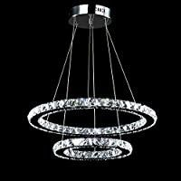 Crystal Chandeliers Modern lED Ceiling lights Fixtures Pendant lighting Dining Room Chandelier Contemporary Adjustable Stainless Steel Cable 2 Rings DIY Design D19 7 11 8