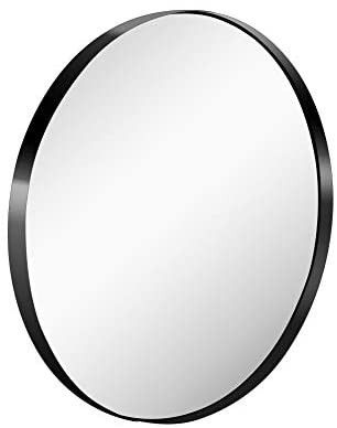26 Inch large Wall Mounted Round Mirror Premium Brushed Metal Coated Frame Black Wall Mirror for Washroom  Entryways  living Rooms
