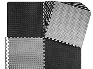 innhom 12 24 Tiles Gym Mat Exercise Mats Puzzle Foam Mats Gym Flooring Mat Interlocking Foam Mats with EVA Foam Floor Tiles for Gym Equipment Workouts  Black
