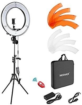 Neewer Ring light Kit 18 48cm Outer 55W 5500K Dimmable lED Ring light  light Stand  Carrying Bag for Camera Smartphone YouTube TikTok Self Portrait Shooting  Black  Model 10088612