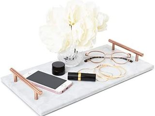 Juvale Rectangle Marble Tray with Handles