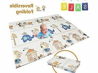Folding Play Mat   BPA Free Non Toxic Foam Baby Care Baby Playmat  6 6FT x 5FT  0 4IN Thick Extra large Reversible Crawling Mat
