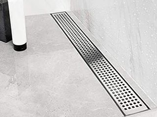 Neodrain 24 Inch linear Shower Drain with Quadrato Pattern Grate Professional Brushed 304 Stainless Steel Rectangle Shower Floor Drain