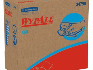 Kimberly Clark WypAll X60 Wipers  White  126 sheets