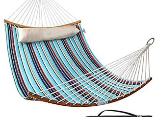 Double Hammock Indoor and Outdoor Hammock w Foldable Bar   Detachable Pillow