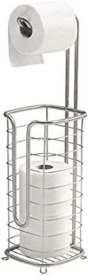 mDesign Free Standing Toilet Paper Holder Stand and Dispenser