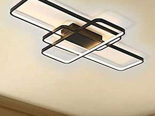 leniure Gold Modern Square lED light Ceiling lamp Chandelier lighting Fixture 41  Wide 23  Deep 3 5  High  Warm White 3000K