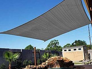 SUNNY GUARD 8  x 12  Charcoal Rectangle Sun Shade Sail UV Block for Outdoor Patio Garden