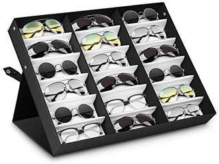 Sunglasses Display Case 18 Slot Sunglass Eyewear Display Storage Case Tray Gift for Him Her